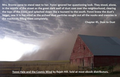 Dust storm approaching barn
